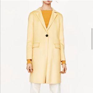 Zara yellow wool coat XS
